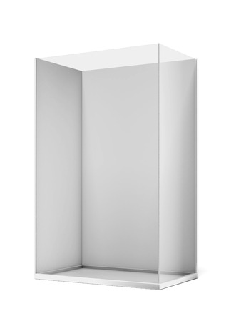 Trade exhibition stand with glass isolated on a white background. 3d render photo