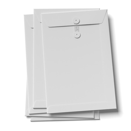 Stack of envelopes isolated on a white background. 3d render photo