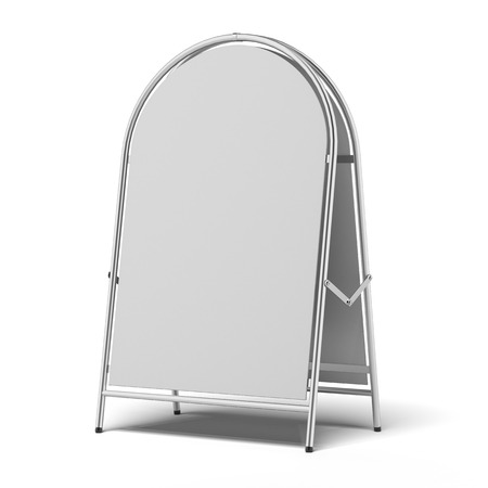 portative: white advertising stand isolated on a white background. 3d render Stock Photo