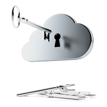 security token: Cloud security isolated on a white background. 3d render