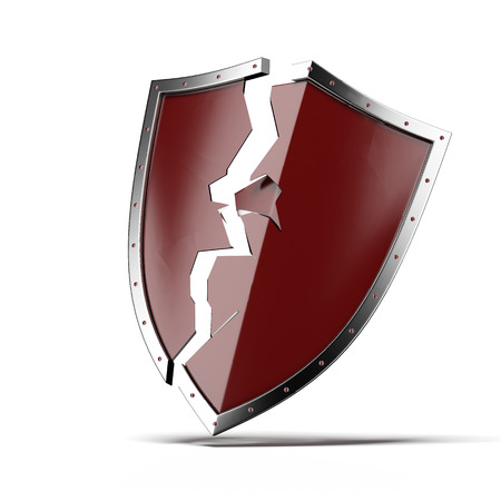 Broken security shield isolated on a white background. 3d render