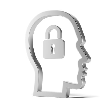 open mind: lock inside head isolated on a white background. 3d render