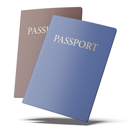 emigration: Two passports  isolated on a white background. 3d render