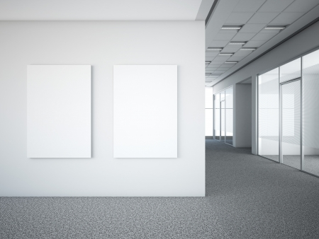 office interior with two white frames. 3d render & Office Interior Stock Photos. Royalty Free Office Interior Images