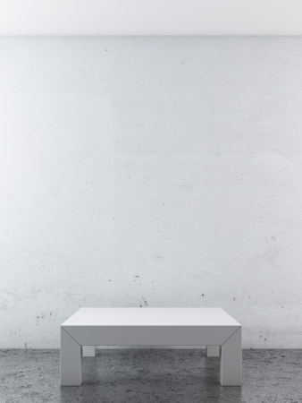 white room with podium. 3d render photo