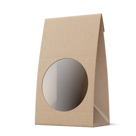 coffee sack: Package with Round Window isolated on a white background. 3d render