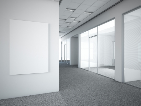 office interior with white frame. 3d render