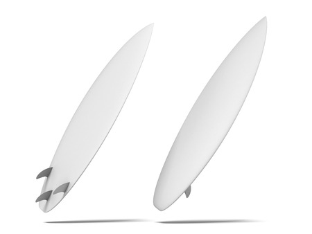 White surfboard isolated on a white background. 3d render