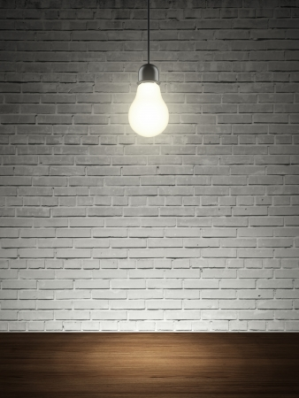 brick wall, table and lightbulb  3d render photo