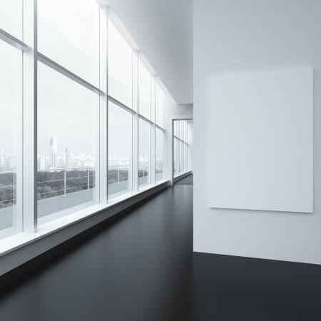 白いフレームと窓のオフィスのインテリア。3 d のレンダリング