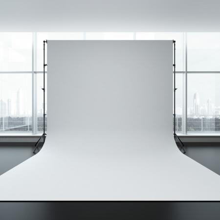 White backdrop in room. 3d render