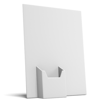 print shop: empty box holder for leaflets  isolated on a white background. 3d render