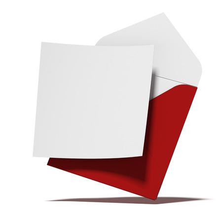 sobres de carta: Sobre rojo con tarjeta de aislados en un fondo blanco. 3d Foto de archivo