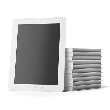 publisher: Tablet Computer with  Books isolated on a white background. 3d render Stock Photo