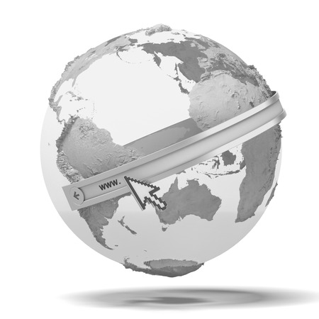 Globe with internet adress isolated on a white background. 3d render photo