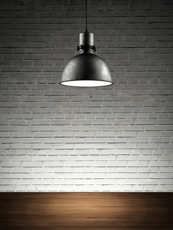 brick wall with lamp. 3d render photo