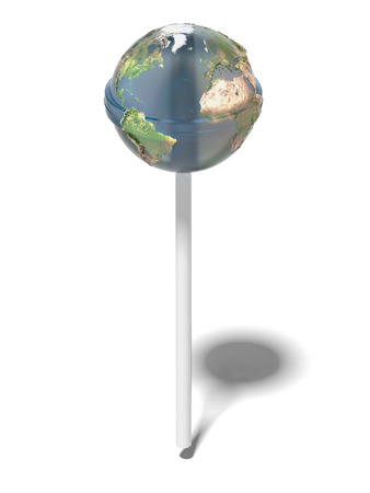 lollipops: Earth like glossy lollipop  isolated on a white background. 3d render Stock Photo