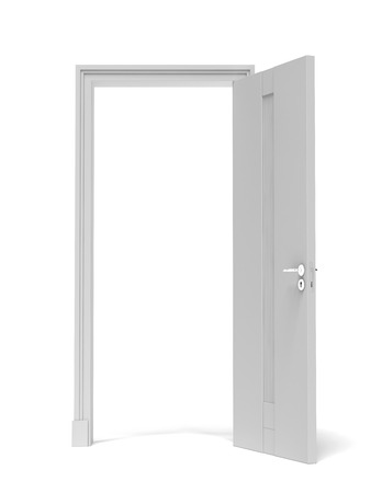 white opened door  isolated on a white background. 3d render photo