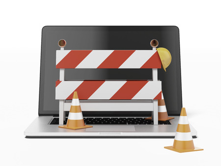 under construction with Laptop  isolated on a white background. 3d render photo