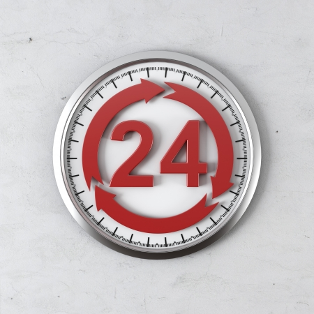 cycle 24 hour service  isolated on a white background. 3d render photo