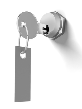 secret privacy: key with tag isolated on a white background. 3d render
