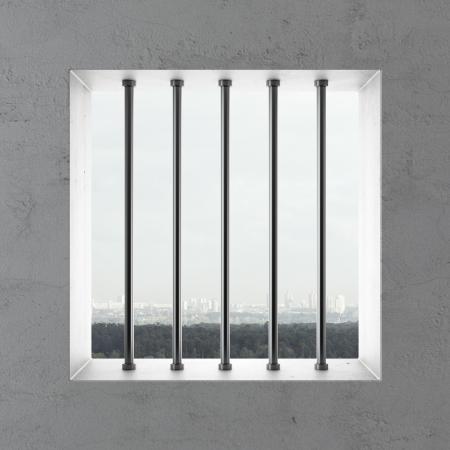 lockup: Jail window  . 3d render