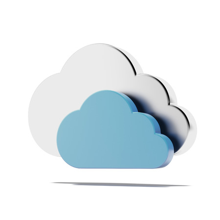 synchronizing: Two clouds  isolated on a white background. 3d render