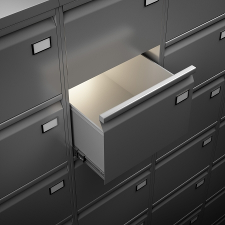 File cabinet with light. 3d render photo