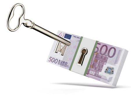 company secrets: Key and euros isolated on a white background. 3d render