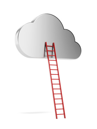 cloud with red ladder  isolated on a white background. 3d render photo