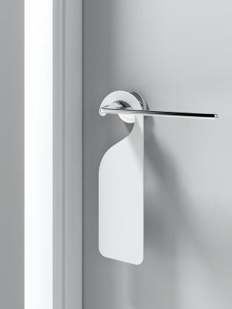 handle: Blank sign on the door handle  . 3d render Stock Photo