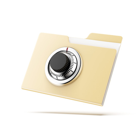 dir: Folder with lock  isolated on a white background. 3d render