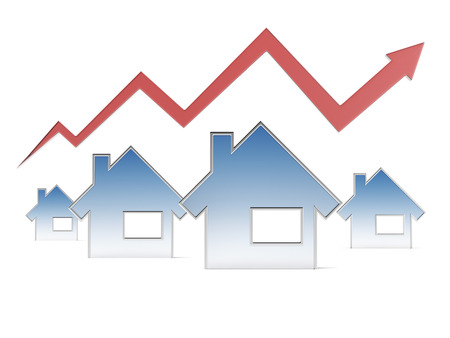 increase diagram: Red graph and houses  isolated on a white background. 3d render