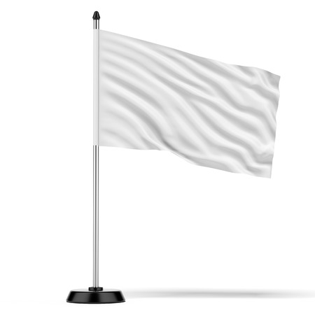 flagpole: flag on flagstaff  isolated on a white background. 3d render