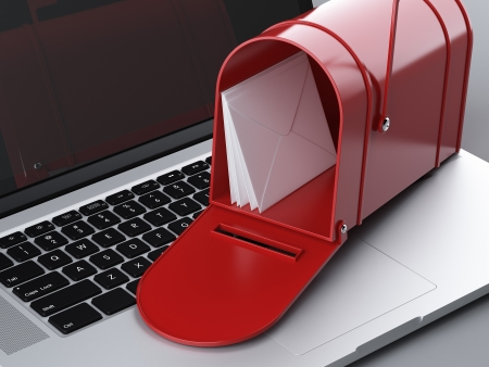 send mail: laptop and mailbox. 3d render
