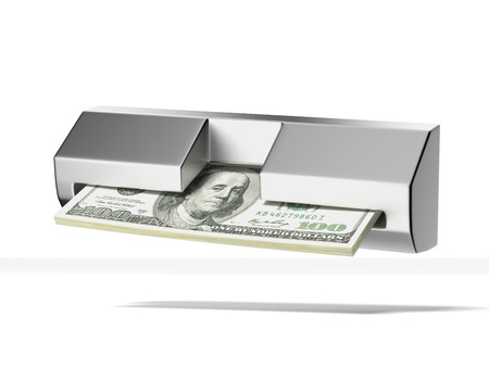 bancomat: cash machine and stack of dollars  isolated on a white background  3d render