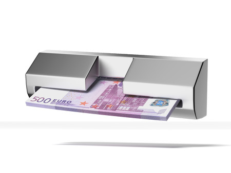 cash machine and stack of euros isolated on a white background  3d render photo