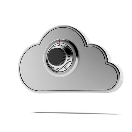 combination lock: Combination lock and cloud isolated on a white background. 3d render