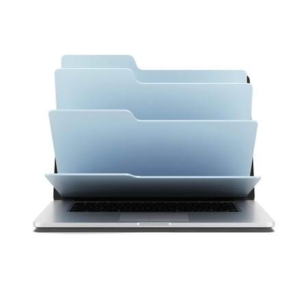 Laptop with folders isolated on a white background. 3d render photo