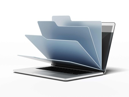 Laptop with blue folders isolated on a white background. 3d render photo