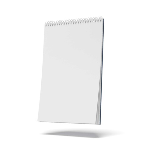 blank spiral notepad isolated on a white background. 3d render Stock Photo
