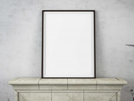 single shelf: wooden picture frame on a fireplace . 3d render Stock Photo