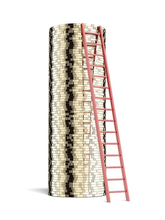 stack of coins and ladder isolated on a white background. 3d render photo