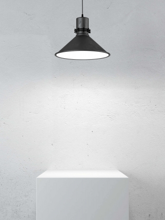 podium and lamp in light room. 3d render photo