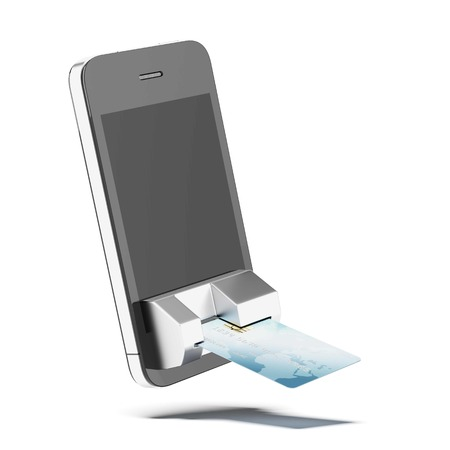 mobile telephone: credit card connected to mobile phone isolated on a white background. 3d render Stock Photo