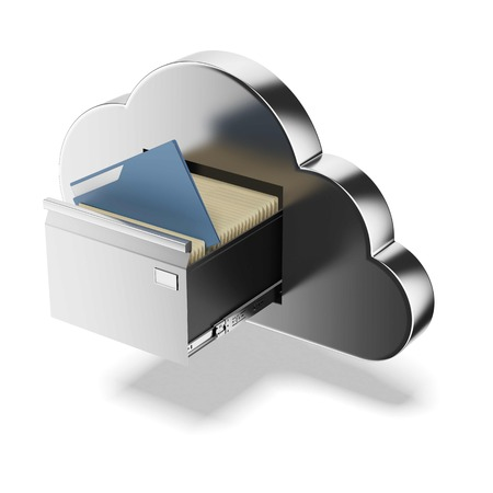 file box: File storage in cloud isolated on a white background. 3d render