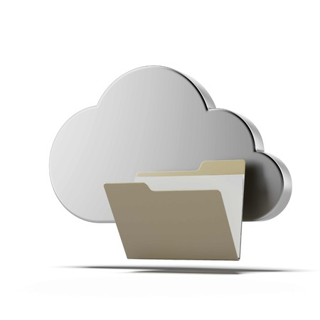 file folders: Cloud computing and folder isolated on a white background. 3d render