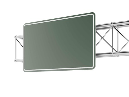 Empty highway sign isolated on a white background. 3d render