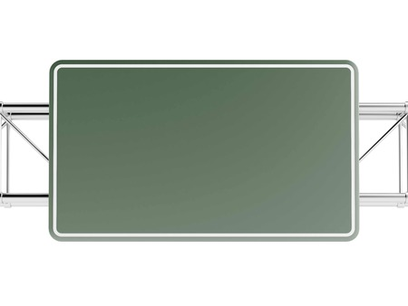 Green highway sign isolated on white isolated on a white background. 3d render photo
