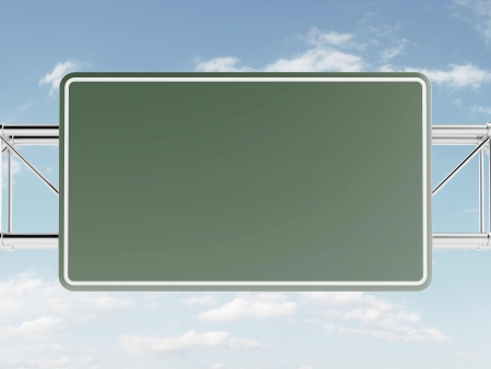Green highway sign against the sky. 3d render photo